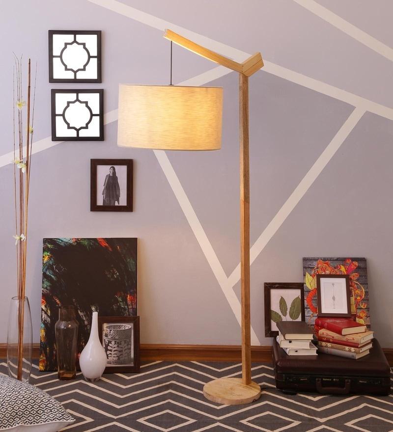Beige linen Floor Lamp  by Grated Ginger