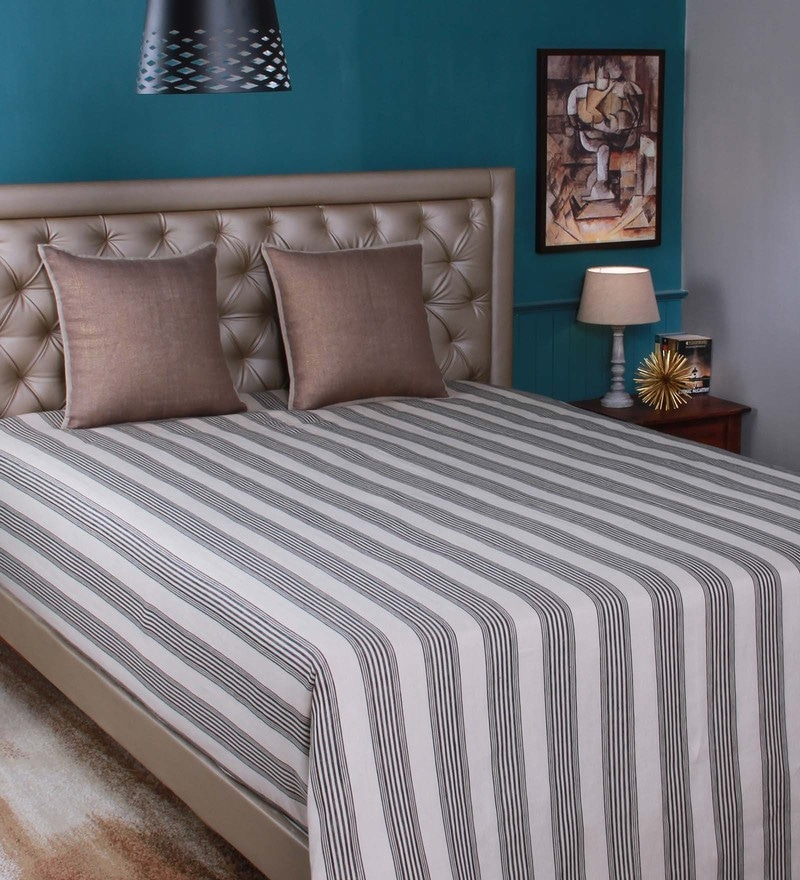 Beige Linen King Size Bedsheet by Milano Home