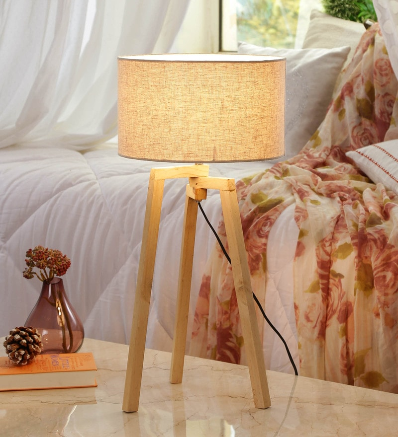 Beige linen Table Lamp by Grated Ginger