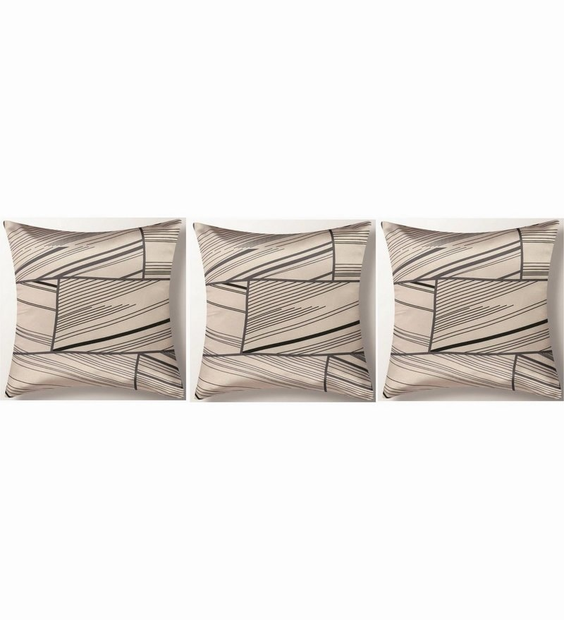 Beige Polyester 16x16 Inch Cushion Covers - Set of 3 by Dreamscape