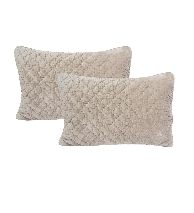 Beige Velvet 16 x 23 Inch Cushion Covers - Set of 2 by R Home