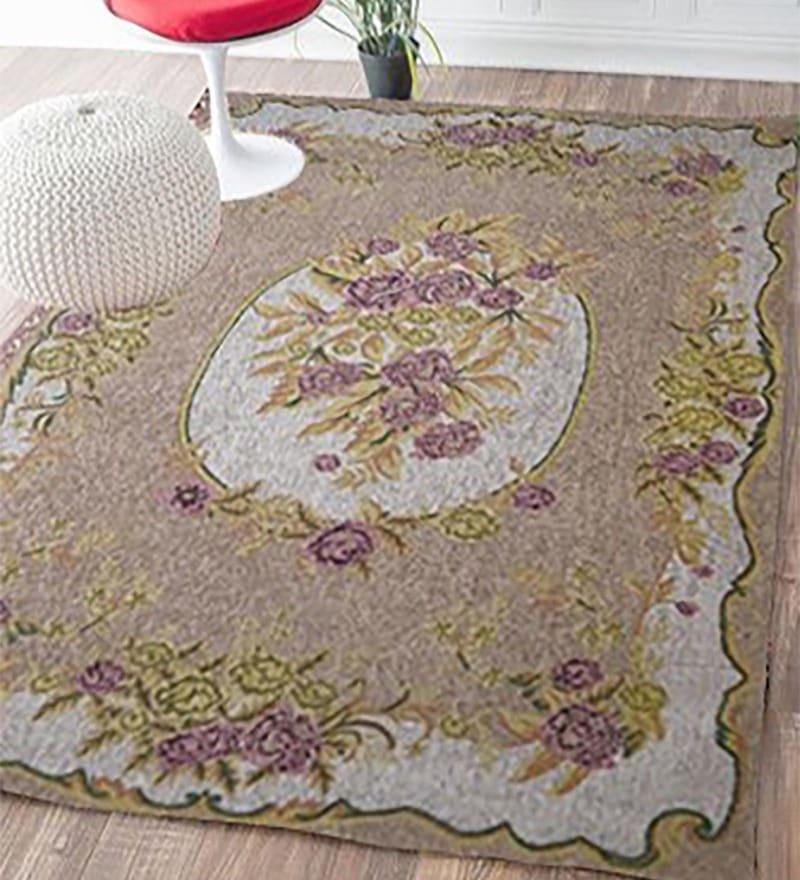 Beige Wool 90 x 63 Inch Carpet by Designs View