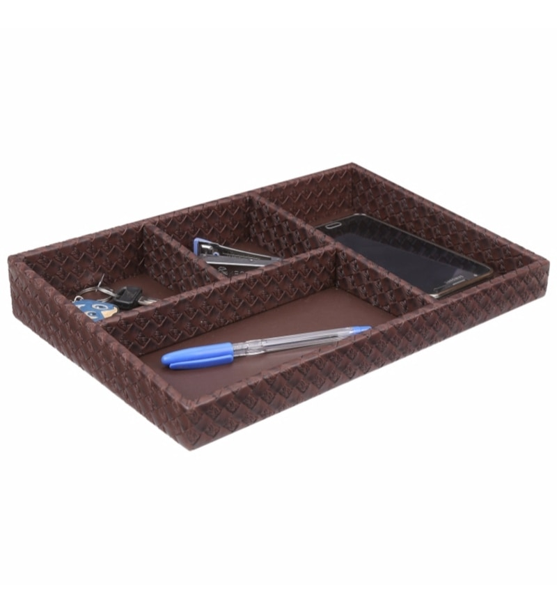 Belmun Leatherette Brown Woven Pattern Desk Organiser with Partitions