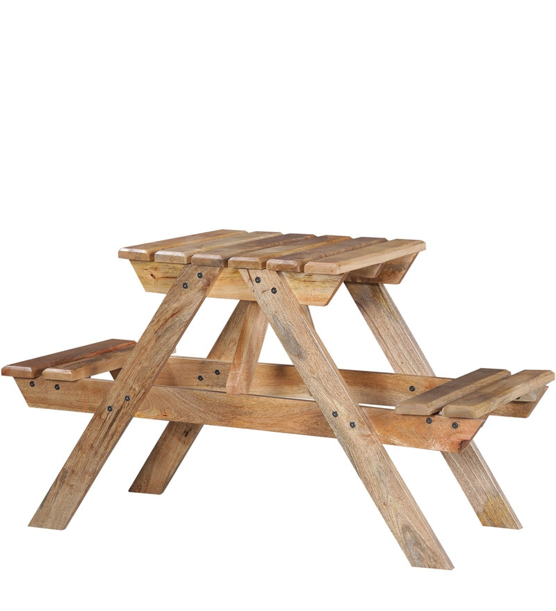 Buy lomira two seater picnic table in natural mango wood for 12 seater wooden outdoor table