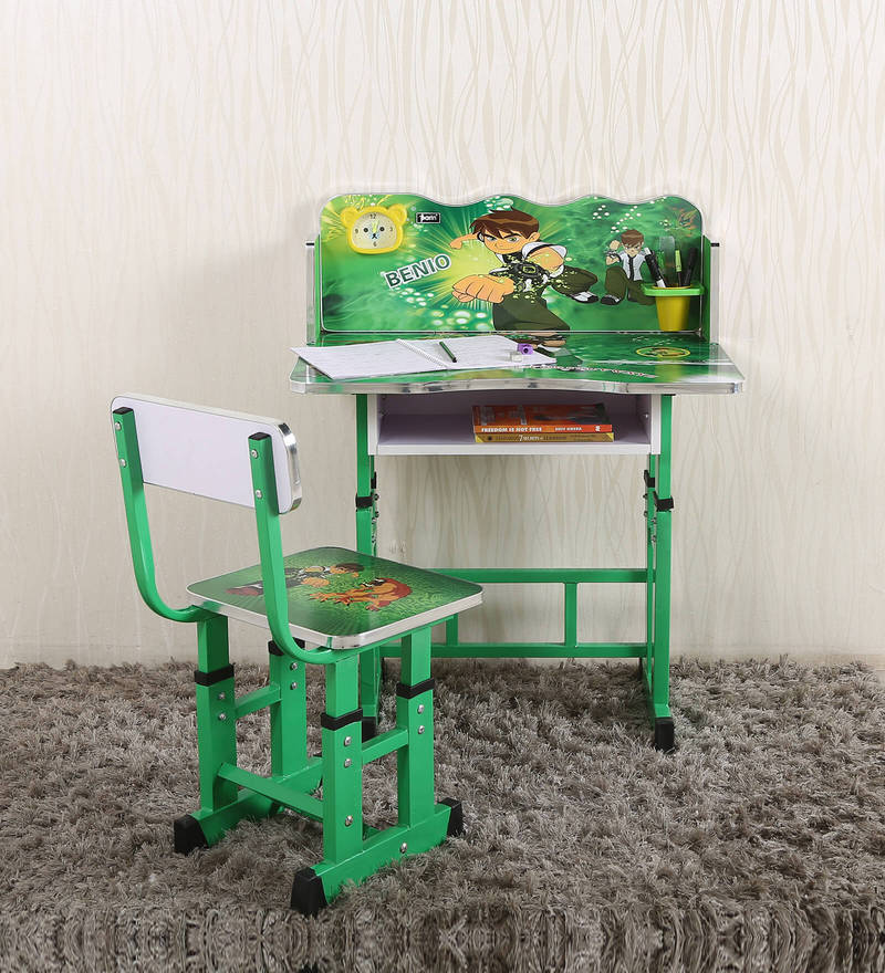 Ben10 Kids Study Table & Chair Set  in Green Color by Parin