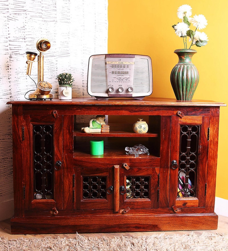 Bentinck Entertainment Unit in Honey Oak Finish by Amberville