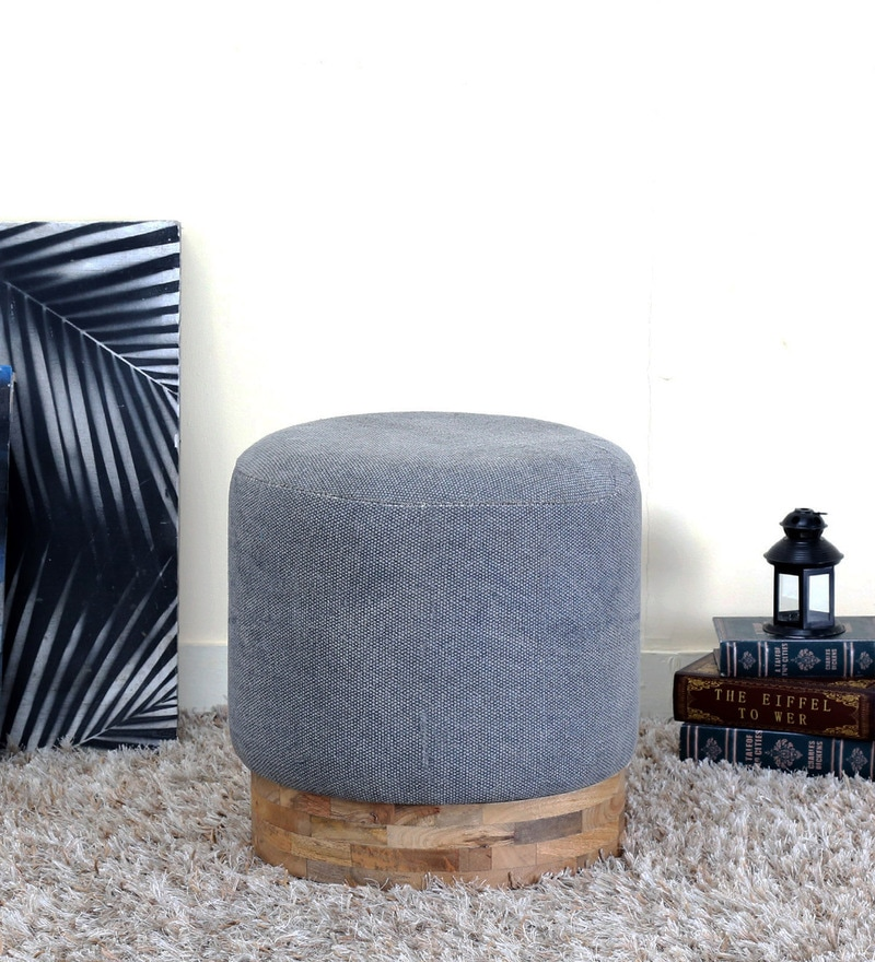 Berio Pouffe in Grey Color by Bohemiana
