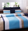 Bella Blue and White Cotton Queen Size Bedsheet - Set of 3