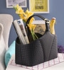 Belmun Leatherette Black 3 L Woven Pattern Basket
