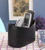 Belmun Leatherette Black Woven Pattern 3 Section Remote Holder
