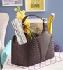 Belmun Leatherette Brown 3 L Woven Pattern Storage Basket