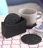 Belmun Black Leatherette 7-piece Embossed Round Coaster Set