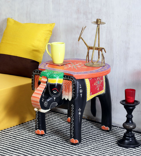 Bhargava Hand Painted End Cum Solid Wood Coffee Table By Mudramark