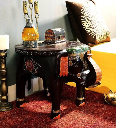 Bhargava Hand Painted End cum Coffee Table by Mudramark