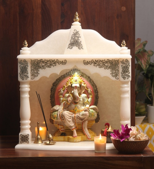Buy hand made pooja mandir in translucent white marble with intricate onyx art work by bhavya for Marble temple designs for home