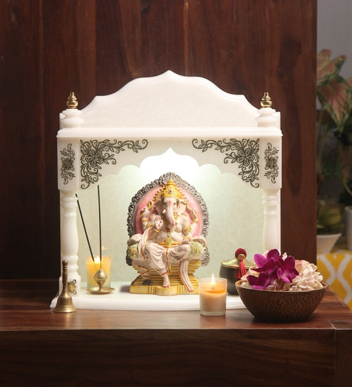 Buy Hand Made Pooja Mandir In Translucent White Marble With