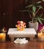 Bhavya Craft White Onyx Marble Chowki