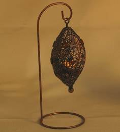 Aapno Rajasthan Brown Metal Bird Nest Tea Light Holder