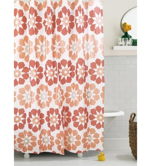 Bianca Brick Coloured Shower Curtain And Hook