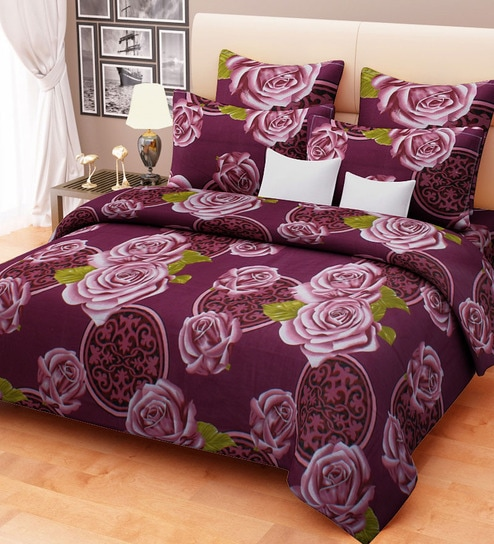 Big Purple Rose Printed Cotton Double Bed Sheet Set