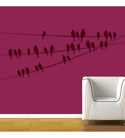 Buy Creative Width Birds On Wire Vinyl Wall Sticker Decal Online