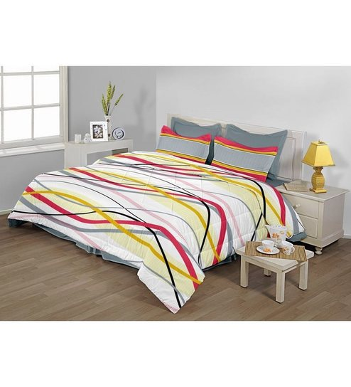 bc9c5c1f Birla Century Multicolour Cotton Abstract Double Bed Sheet (with Pillow  Cover)