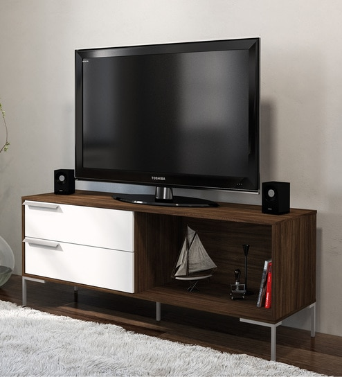 Birubao TV Unit with Two Drawers in Dark Brown and White Finish by Mintwud