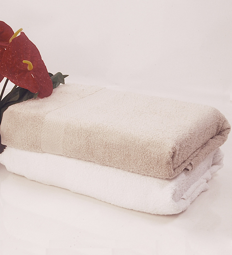 BIANCA Antique & White 100% Terry Cotton Bath Towel - Set of 2