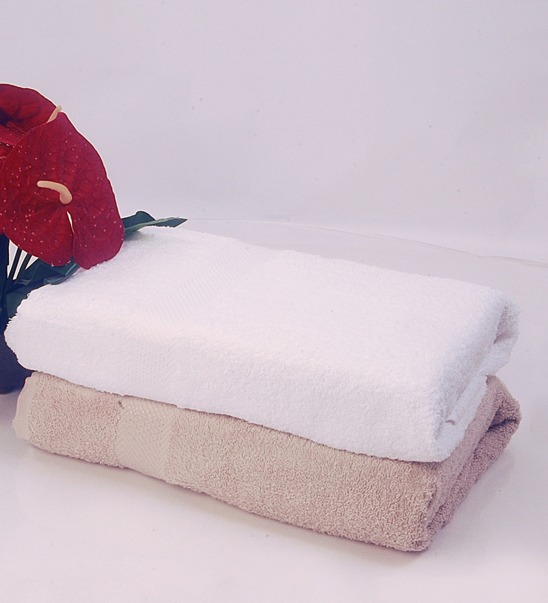 BIANCA White & Antique 100% Terry Cotton Bath Towel - Set of 2