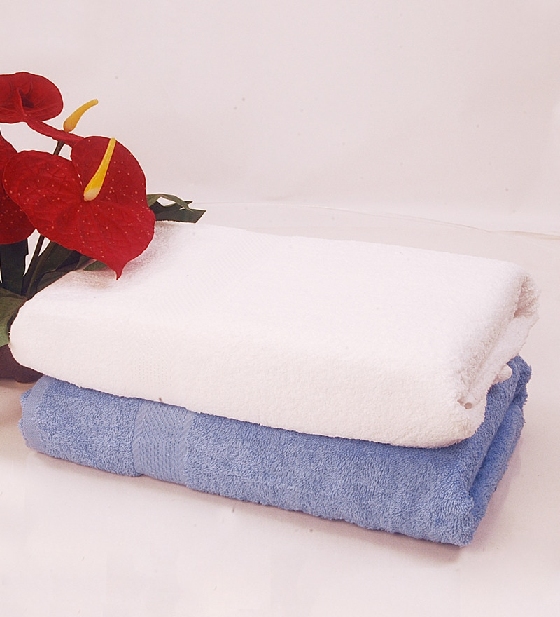 BIANCA White & Sky Blue 100% Terry Cotton Bath Towel - Set of 2