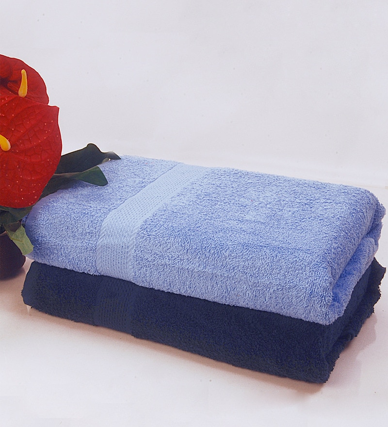 BIANCA Sky Blue & Navy 100% Terry Cotton Bath Towel - Set of 2