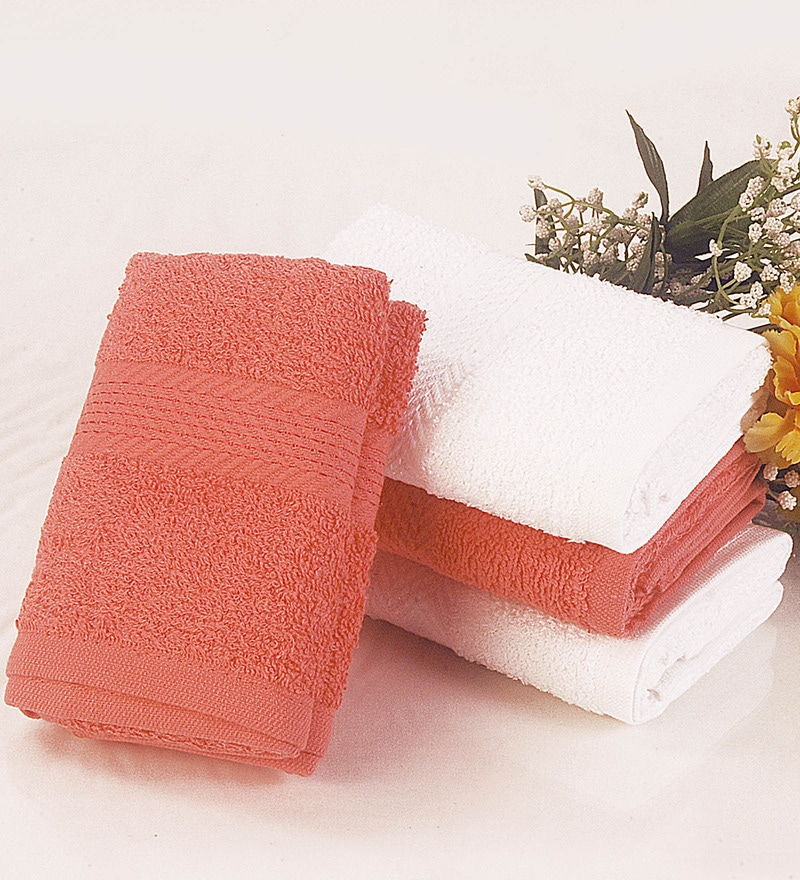 BIANCA Coral & White Cotton Hand Towel - Set of 4