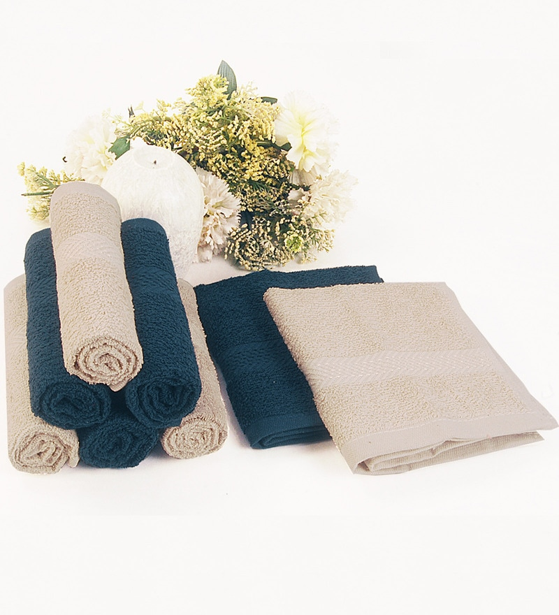 BIANCA Antique & Navy 100% Terry Cotton Face Towel - Set of 8
