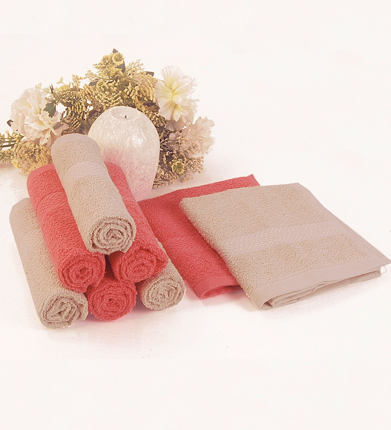 BIANCA Antique & Coral 100% Terry Cotton Face Towel - Set of 8