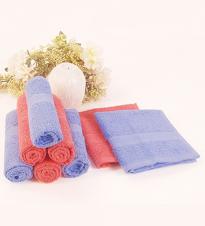 BIANCA Sky Blue & Coral 100% Terry Cotton Face Towel - Set of 8