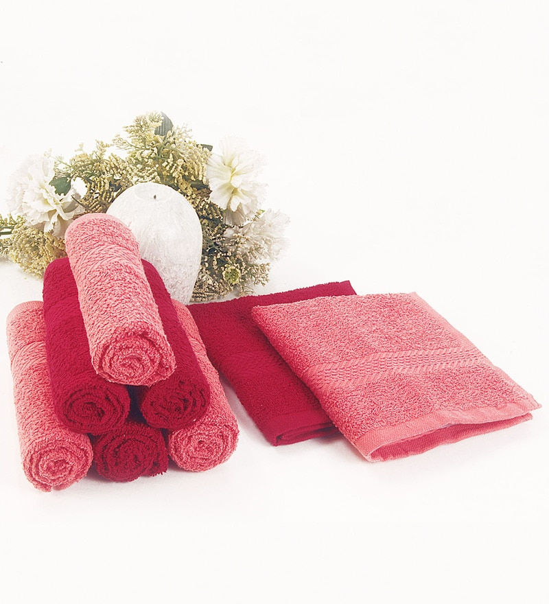 BIANCA Coral & Burgundy 100% Terry Cotton Face Towel - Set of 8