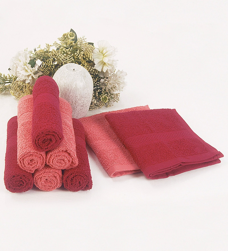 BIANCA Burgundy & Coral 100% Terry Cotton Face Towel - Set of 8