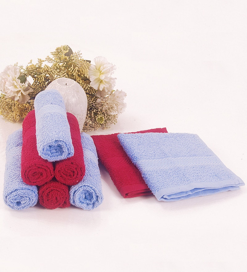 BIANCA Sky Blue & Burgundy 100% Terry Cotton Face Towel - Set of 8