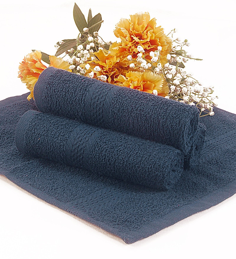 BIANCA Navy Blue Terry Cotton Face Towel - Set of 4