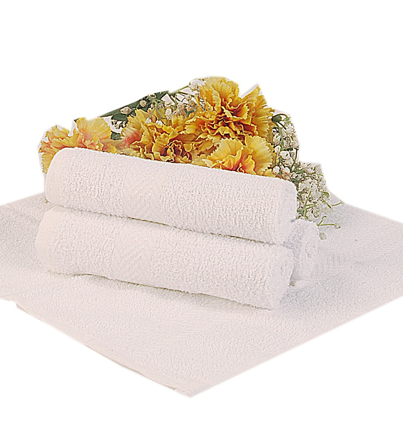 BIANCA White Terry Cotton Face Towel - Set of 4