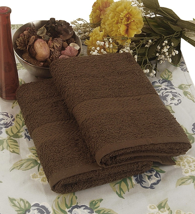 BIANCA Brown Terry Cotton Hand Towel - Set of 2