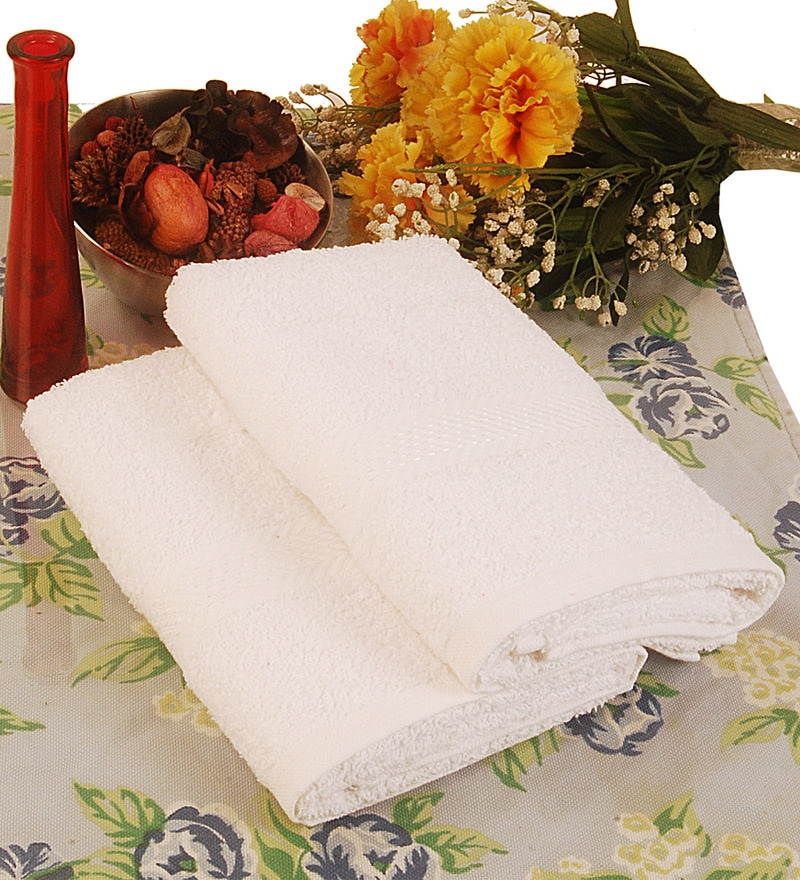 BIANCA White Terry Cotton Hand Towel - Set of 2