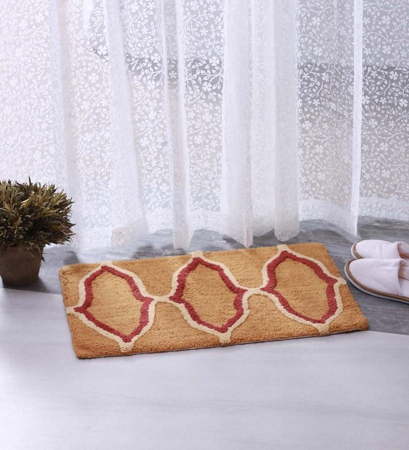 Beige & Red 100% Cotton 16 X 24 Bath Mat - Set of 2 by BIANCA