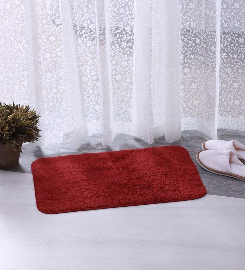 Blue & Maroon 100% Cotton 16 X 24 Bath Mat - Set of 2 by BIANCA