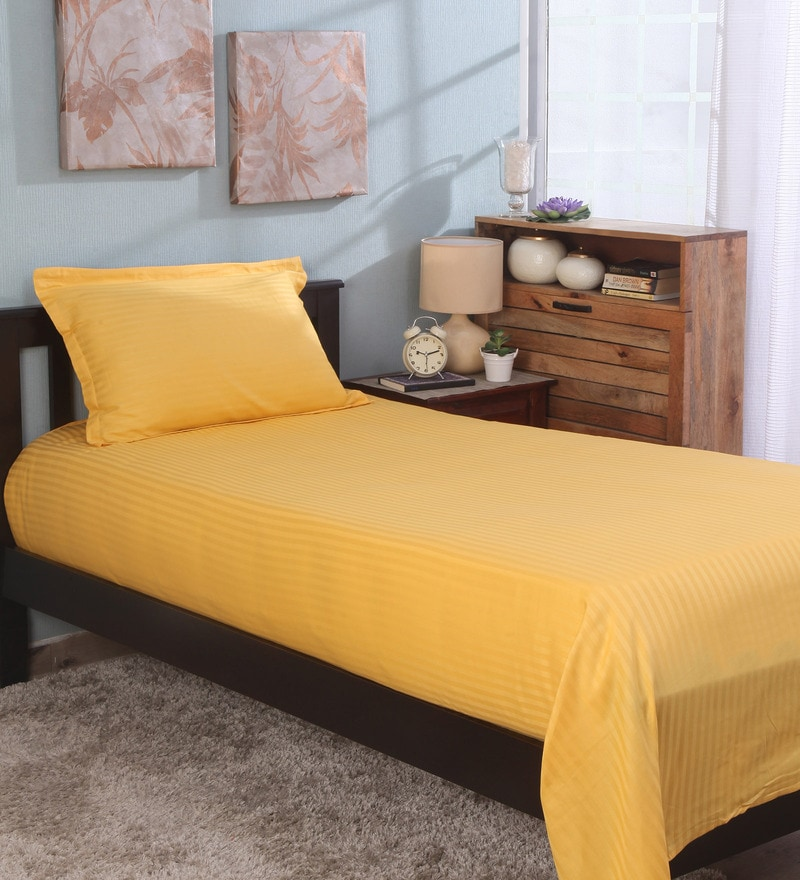 Bianca Golden 100% Cotton Single Size Bedsheet - Set of 2