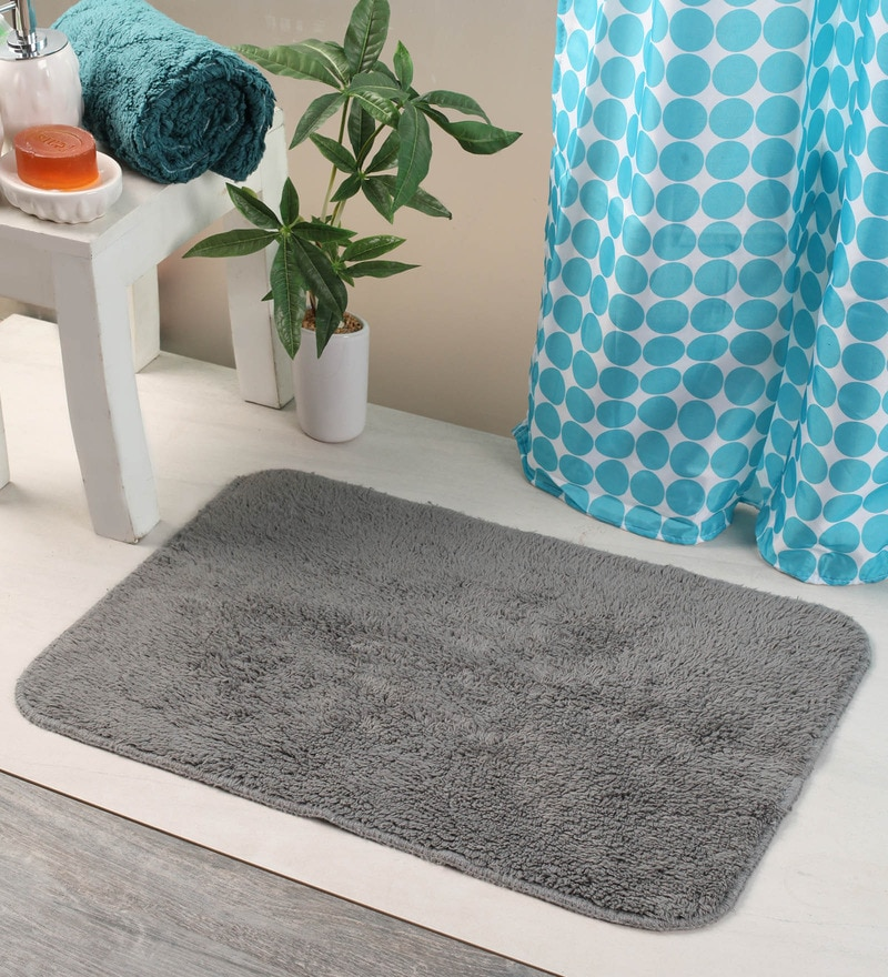 Bianca Grey Cotton 24 X 16 Bath Mat 1 Pc