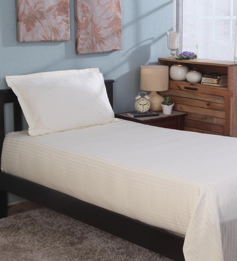 Bianca Ivory 100% Cotton Single Size Bedsheet - Set of 2