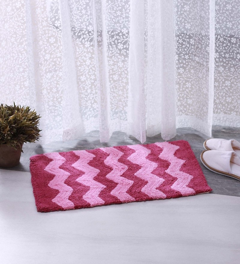 Bianca Pink 100% Cotton 16 X 24 Bath Mat - Set of 2