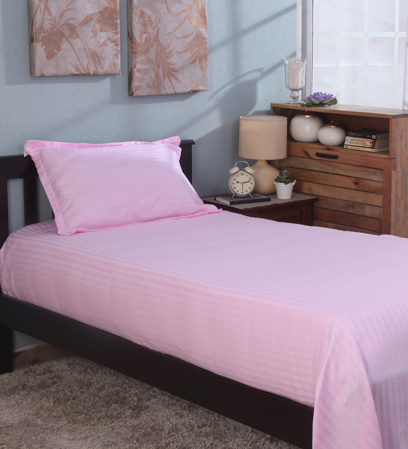 Bianca Pink 100% Cotton Single Size Bedsheet - Set of 2