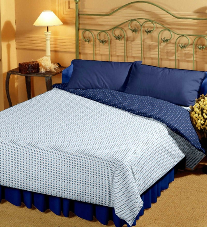 Bianca White and Navy Blue 100% Cotton 55 x 87 Inch Super Soft Reversible Single Dohar